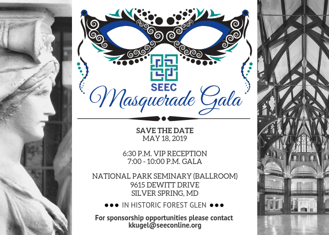 seec masquerade gala save the date card