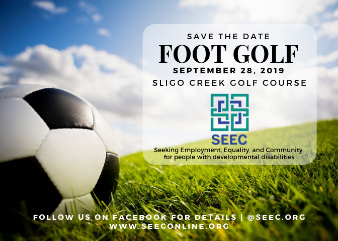 a foot lining up to kick a soccer ball. link to footgolf event page to purchase tickets and to sponsor the event.
